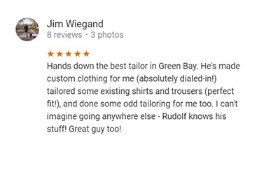 Tailor Green Bay WI Customer Review